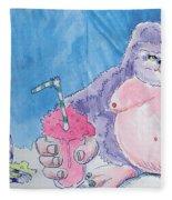 Gorilla Cartoon Fleece Blanket