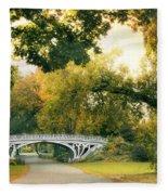 Gothic Bridge In Central Park Fleece Blanket