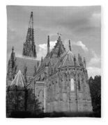 Gothic Church In Black And White Fleece Blanket