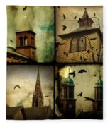 Gothic Churches And Crows Fleece Blanket