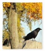 Three Ravens On A Gothic Graveyard Day Fleece Blanket