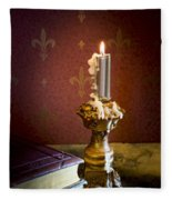 Gothic Scene With Candle And Gilt Edged Books Fleece Blanket