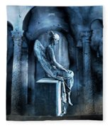 Gothic Surreal Angel In Mourning With Ravens Fleece Blanket
