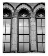 Gothic Windows - Black And White Fleece Blanket