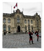 Government Palace Guards In Lima Fleece Blanket