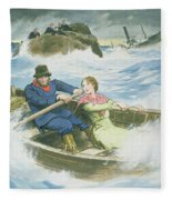 Grace Darling And Her Father Rescuing Fleece Blanket
