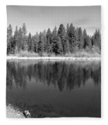 Grace Lake Reflections In Black And White Fleece Blanket