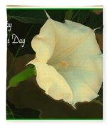 Graceful Moonflower - Happy Mother's Day Fleece Blanket