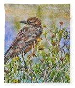 Grackle In Flowers Fleece Blanket