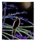 Grackle In The Willow Tree Fleece Blanket
