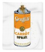 Graffiti Carrot Spray Can Fleece Blanket by Gary Grayson