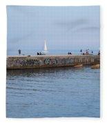 Graffiti Fishing Wall Barcelona Spain Fleece Blanket