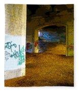Graffiti Under The Bridge Fleece Blanket