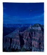Grand Canyon In Moonlight Fleece Blanket