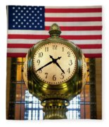 Grand Central Clock Fleece Blanket