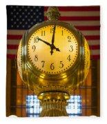 Grand Central Clock Fleece Blanket