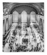Grand Central Terminal Birds Eye View I Bw Fleece Blanket