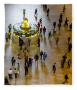 Grand Central Terminal Clock Birds Eye View  Fleece Blanket