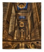 Grand Central Terminal Station Chandeliers Fleece Blanket