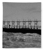 Grand Haven Light In Black And White Fleece Blanket