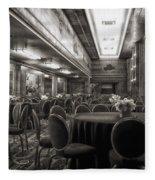 Grand Salon 05 Queen Mary Ocean Liner Bw Fleece Blanket