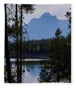 Grand Teton Framed By Cedars Fleece Blanket