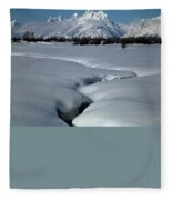1m9304-grand Teton From Jackson Hole, Winter, H Fleece Blanket