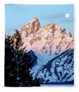 Grand Teton National Park Moonset Fleece Blanket