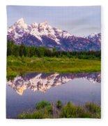Grand Teton Reflection Fleece Blanket