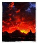 Grand Teton Sunset Fleece Blanket
