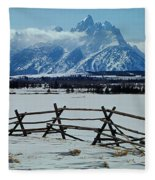 1m9306-grand Tetons From Ranch Country Fleece Blanket