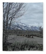 Grand Tetons Landscape Fleece Blanket