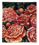 Grandma Lights Peonies Fleece Blanket