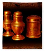 Grandma's Kitchen-copper Salt Pepper  And Flour Shakers Fleece Blanket
