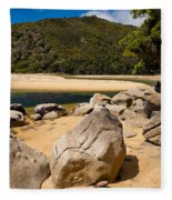 Granite Boulders In Abel Tasman Np New Zealand Fleece Blanket