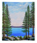 Granite Boulders Lake Tahoe Fleece Blanket