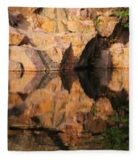 Granite Cliffs And Reflections In A Quarry Lake Fleece Blanket