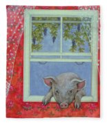 Grapes At The Window Fleece Blanket