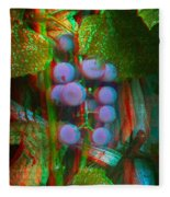 Grapes On The Vine - Use Red-cyan Filtered 3d Glasses Fleece Blanket