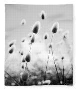 Grass Field Black And White Fleece Blanket
