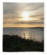 Grass In The Setting Sun Fleece Blanket