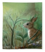 Grass Rabbit Fleece Blanket