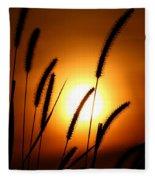 Grasses At Sunset - 1 Fleece Blanket