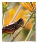 Grasshopper On Coneflower Stem Fleece Blanket
