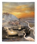 Grateful Friends Curious Egrets Fleece Blanket
