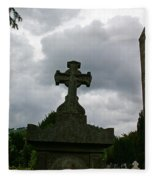 Grave Cross And The Round Tower Fleece Blanket