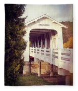Grave Creek Covered Bridge Fleece Blanket