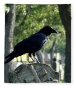 Graveyard Bird On Top Of A Tombstone Fleece Blanket