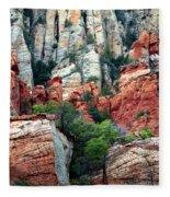 Gray And Orange Sedona Cliff Fleece Blanket