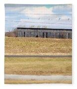 Gray Barn In A Cornfield Fleece Blanket